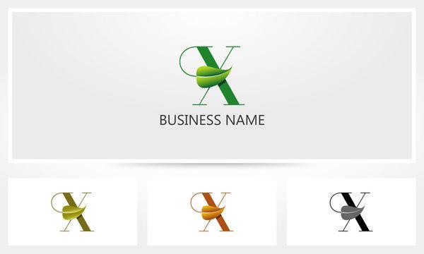 Letter X Leaf Sprout Logo