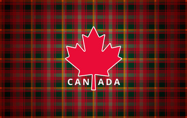 Canada Day greeting card background - maple leaf abstract modern illustration and national Canadian tartan texture - vector banner illustration