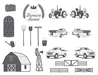 Vintage farm element design logo badges