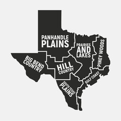 Wall Mural - Texas map of regions. Texas US state icon. Poster map. Vector illustration