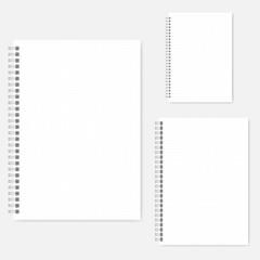 Set of dot grid spiral notebook vector mock-ups - A4, A5, A6 size
