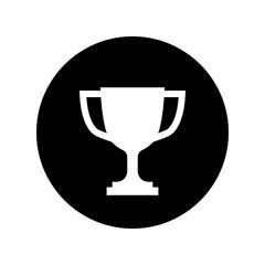 Trophy cup icon in black circle Simple winner icon