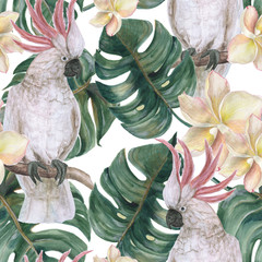 Watercolor painting seamless pattern with tropical deliciosa leaves, plumeria flowers and cockatoo