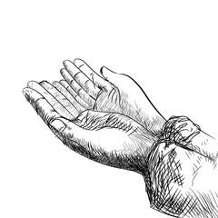 Hand praying-Hand drawn Illustration