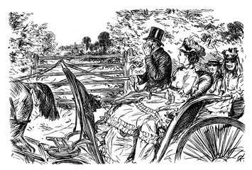The considerate coachman, caricature and humor by Charles Keene (1823 – 1891)  for Punch 1872