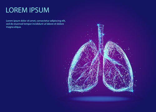 Abstract image of human lungs in the form of a starry sky or space, consisting of points, lines and shapes in the form of planets, stars and the Universe. Low poly vector