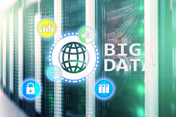 Big data analysing server. Internet and technology.