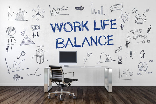 Work Life Balance | Desk in an office with symbols