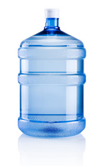 Big plastic bottle potable water isolated on a white background