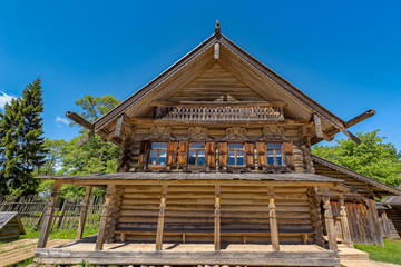 Ancient wooden log house.