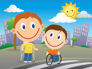 Disabled children crossing the road