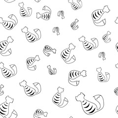 Seamless pattern, silhouette of a cat from the back, black and white