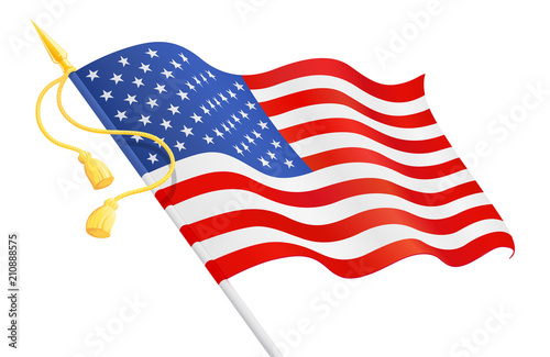 Usa Flag At Handle National Symbol For Independence Day 4 Stock