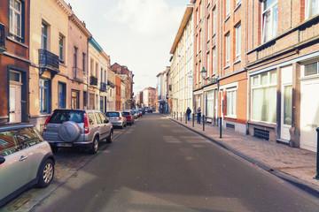 Street close to park Square Ambiorix, Brussels, Belgium