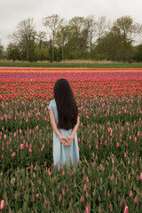 Back of girl standing in tulip field