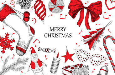 White Christmas background with red decoration.