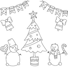 White background with Christmas tree.