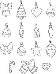 Set of christmas decorative toys isolated on white.