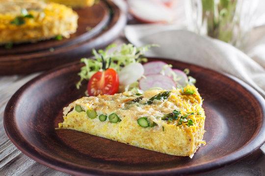 Asparagus quiche with spaghetti squash crust