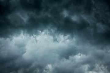 Dark dramatic stormy sky. Danger during a hurricane_
