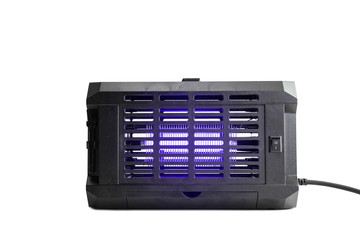 Big Ultraviolet Lamp Insect Killer Device With Violet Glow On Isolated White Background