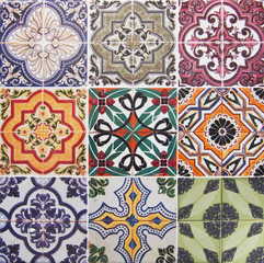 Acrylic Prints Moroccan Tiles Detail of the traditional tiles from facade of old house. Decorative tiles.Valencian traditional tiles. Floral ornament.