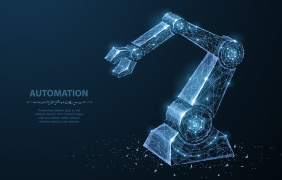 Robot hand. Polygonal wireframe mesh looks like constellation on dark blue with dots and stars.
