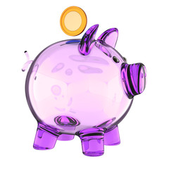 piggy bank glass purple translucent empty and single golden coin. saving money, donate, payment, banking business, earning, finance icon concept. 3d illustration