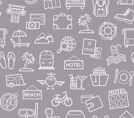 Travel, vacation, tourism, leisure, seamless pattern, contour, gray-blue. Different types of holidays and ways of travelling. Vector, monochrome background. White line drawings on a gray-blue field.