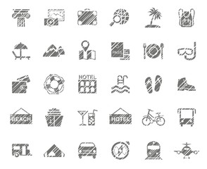 Travel, vacation, tourism, vacation, icons, pencil shading, monochrome, vector. Different types of holidays and ways of travelling. Gray icons on a white field. Simulation of shading.