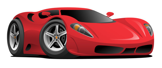 Tuinposter Cartoon cars Red European Style Sports-Car Cartoon Vector Illustration