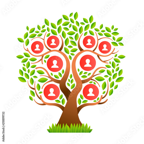 Big Family Tree Template With People Icons Stockfotos Und