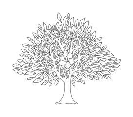 Hand tree concept in outline style for social help
