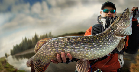 Printed roller blinds Fishing Fishing. Fisherman and trophy Pike.