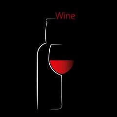 Elegant bottle and wine glass silhouette, vector illustration.
