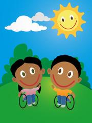 Happy children in wheelchair