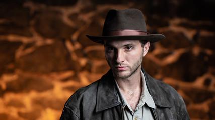 man adventurer. Indiana Jones.