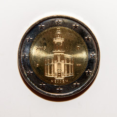 Reverse side of the 2 euro coin (Hessen) issued in Germany