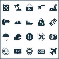 Journey icons set with quadrupter, the mountains, parasol and other vessel