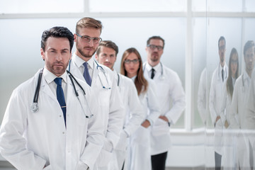 staff of the medical center standing in the hospital corridor