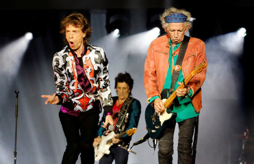 """Mick Jagger, Keith Richards and Ron Wood of the Rolling Stones perform during a concert of their """"No Filter"""" European tour at the Orange Velodrome stadium in Marseille"""