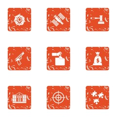 Mercenary icons set. Grunge set of 9 mercenary vector icons for web isolated on white background