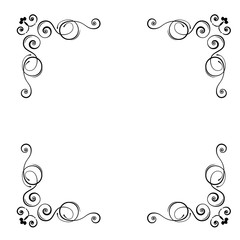 Ornamental floral corners. Calligraphic decorative frame. Decorating of wedding invitations, greeting cards, save the date card. Vector.