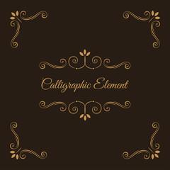 Calligraphic elements. Decorative corners. Ornate frame. Filigree swirls, curls, scroll flourish elements. Wedding invitation, Book decor, Save the date card. Vector.