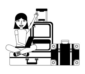 young woman with set suitcases icon