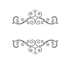 Ornamental borders, flourish vintage page dividers, royal ornament swirls and classical decoration elements. Vector.
