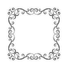 Flourish vintage frame. Filigree page border. Swirls, curls. Flourish pattern. Wedding invitations, greeting card, certificates. Vector.