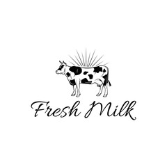 Cow icon. Milk label. Dairy farm logo. Organic farmer products Logotype concept icon. Fresh milk inscription. Vector.