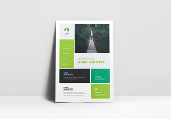 Business Flyer Layout with Green Blocks