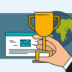 hand holding trophy email digital marketing world